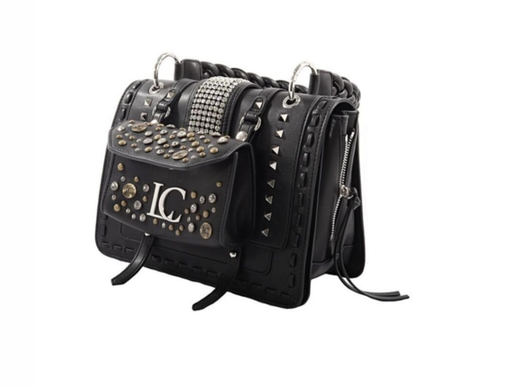 LA CARRIE Borsa cartella Michelle in PU con borchie e strass