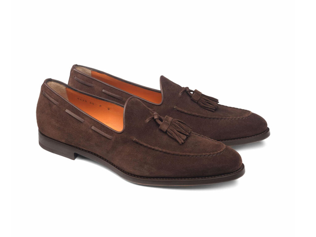 SANTONI  Mocassino nappine in suede